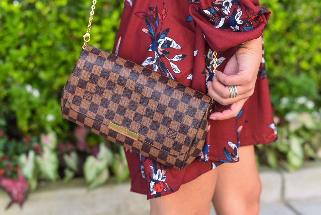 Luxury Handbag Collection and Review featured by top US fashion blog, LuxMommy: image of a woman wearing a louis vuitton favorite mm