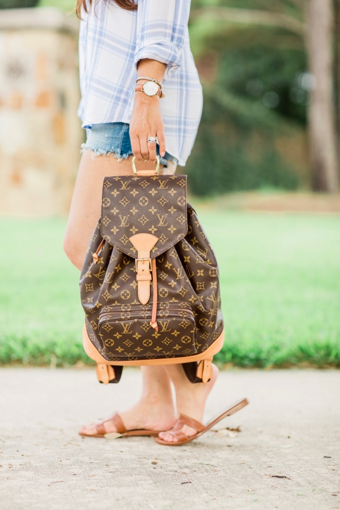 Luxury Handbag Collection and Review featured by top US fashion blog, LuxMommy: image of a woman wearing a louis vuitton montsouris gm backpack