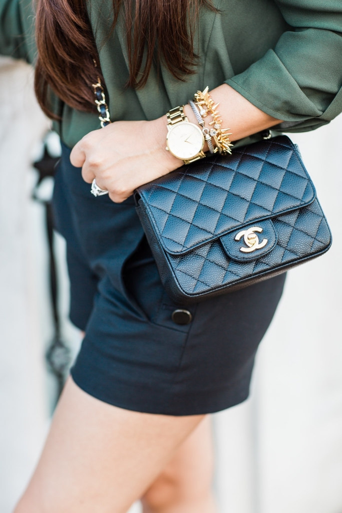 Luxury Handbag Collection and Review featured by top US fashion blog, LuxMommy: image of a woman wearing a Chanel mini square