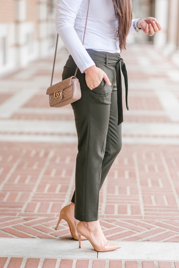 Luxury Handbag Collection and Review featured by top US fashion blog, LuxMommy: image of a woman wearing a gucci marmont super mini