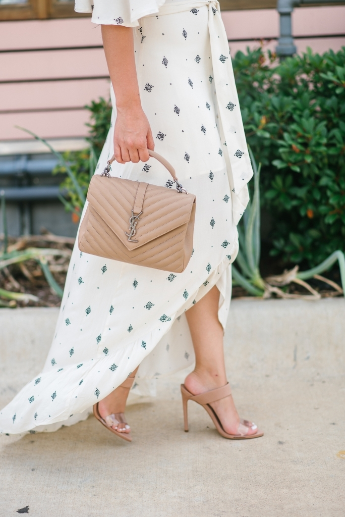 Luxury Handbag Collection and Review featured by top US fashion blog, LuxMommy: image of a woman wearing a Yves Saint Laurent College