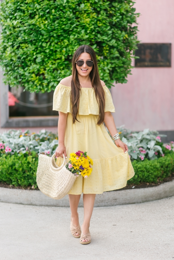 Favorite Affordable Fashion at Walmart featured by top US fashion blog, LuxMommy: image of a woman wearing a Sofia Jeans by Sofia Vergara off the shoulder eyelet midi dress, Eliza May Rose tote and Sam Edelman wedge espadrilles