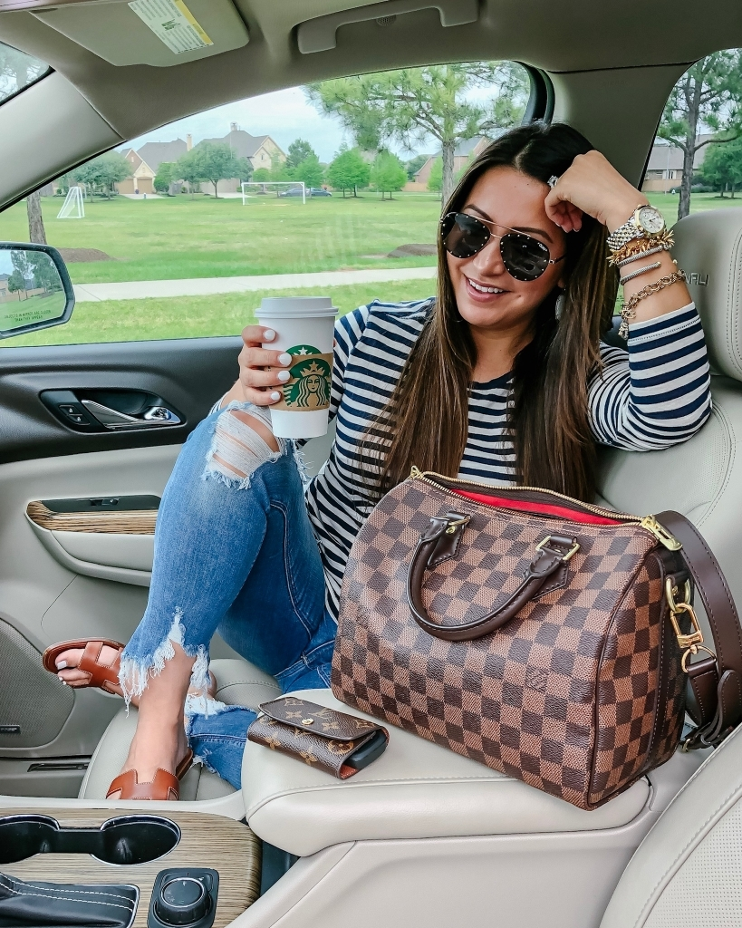 Top 10 Best Non Coffee Starbucks Drinks Under 100 Calories featured by top US life and style blog, LuxMommy: image of a woman sitting in a car holding a Starbucks cup