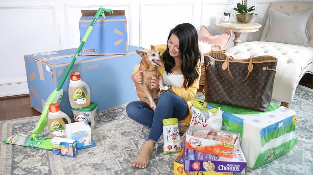 How to Get Household Essentials with Walmart Next Day Delivery by popular Texas life and style blog: Lux Mommy: image of a woman holding her dog and sitting on her floor next to some Walmart next day delivery boxes.