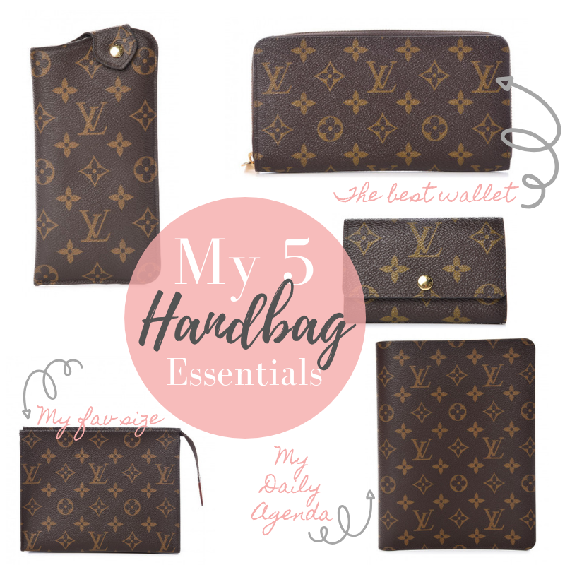 handbag essentials   My 5 Must Have Designer Handbags by popular Texas fashion blog, Lux Mommy: collage image of Louis Vuitton Sunglasses Case MM, Louis Vuitton Zippy Wallet, Louis Vuitton 6 Key Holder, Louis Vuitton Toiletry 19, and Louis Vuitton Desk Agenda.