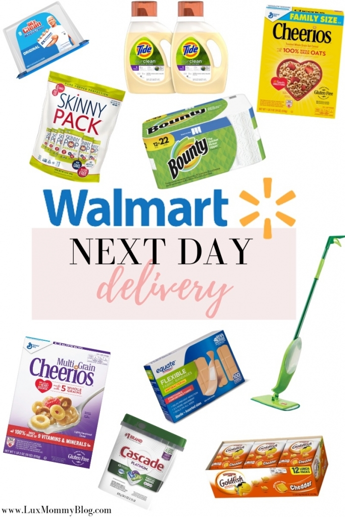 How to Get Household Essentials with Walmart Next Day Delivery by popular Texas life and style blog: Lux Mommy: Pinterest image of home good items for Walmart Next Day delivery.