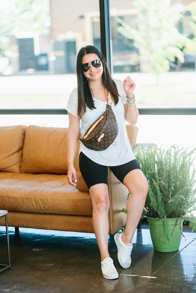 Houston top fashion blogger LuxMommy shares how to style bike shorts
