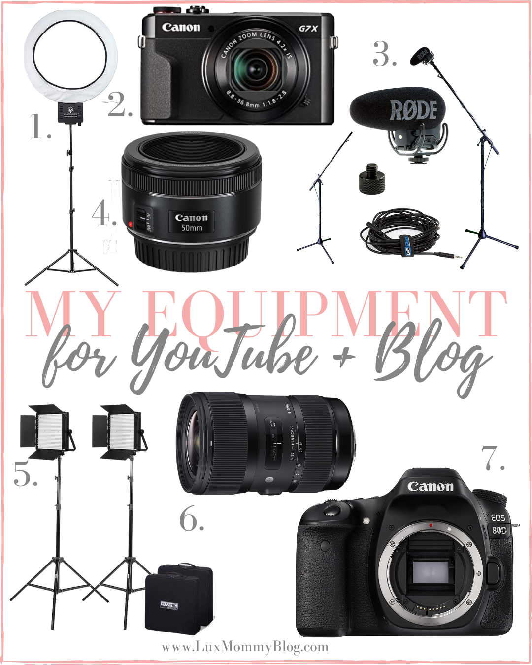 Houston top fashion blogger shares the filming and lighting equipment used for her blog and youtube channel.